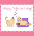 happy valentines day greeting card with cute vector image vector image