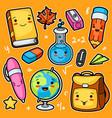 kawaii school and education cute supplies and vector image