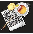 labyrinth game with hot tea and cracker vector image vector image