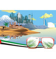 landscape - arab coast sand dunes camel caravan vector image vector image