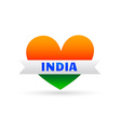 love india symbol with heart and ribbon vector image vector image
