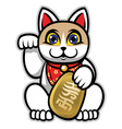 maneki neko japanese lucky cat statue vector image