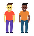 meeting of two friends guys cartoon colorful flat vector image vector image