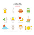 migraine triggers icons set vector image vector image