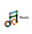 Music note logo flat thin line geometric design vector image vector image