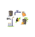 oil industry icons set processing and vector image vector image