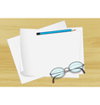 paper pencil and spectacles vector image