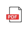 pdf file download icon flat vector image vector image