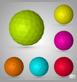 polygonal sphere set color vector image vector image