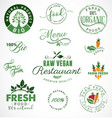 raw vegan restaurant farm fresh organic labels vector image vector image