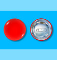 red pin button front and back side vector image