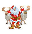 santa claus and reindeers vector image vector image