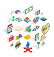 save money icons set isometric style vector image vector image