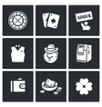 Set of Casino Icons Roulette Deck Win vector image vector image