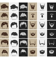set of hairstyles and beards vector image