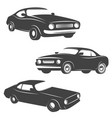 set of retro cars icons isolated on white vector image vector image