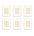 set of yellow photo frames on the wall vector image vector image