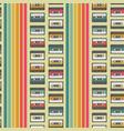 vintage cassette seamless pattern design vector image