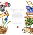 Watercolor organic farm vector image vector image