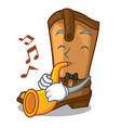 with trumpet old cowboy boots in shape character vector image vector image