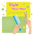 Woman hands with comb and scissors vector image vector image