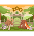Zoo gate with forest animals 2 vector image vector image