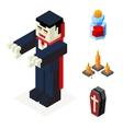 Halloween Vampire Icons Set Coffin Blood Elixir vector image