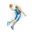 abstract basketball player with ball from a splash vector image vector image