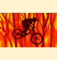abstract image a biker and burning forest vector image