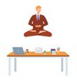 adult man doing yoga in lotus posture vector image