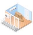 air conditioner in empty room with balcony vector image