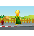 An old lady walking along the road vector image vector image