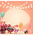 Birthday background with sticker presents balloons vector image