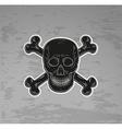 black skull and bones vector image vector image