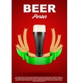 Brewery Label with dark beer glass and malt vector image vector image