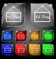 Calendar day 31 days icon sign Set of ten colorful vector image vector image