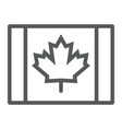 canadian flag line icon canada and maple vector image vector image