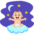 cartoon baby boy sitting on the cloud vector image