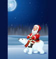 cartoon santa claus riding polar bear vector image vector image