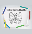 children butterfly coloring worksheet vector image