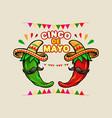 cinco de mayo cartoon mexican green red hot chili vector image vector image
