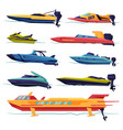 collection speedboat sailboat power boat vector image