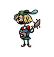 cute and funny medieval musician with guitar vector image vector image