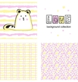 Cute cat on striped background vector image vector image