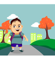 Cute little boy walks along the pathway vector image vector image