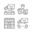 delivery linear icons set heavy goods shipping vector image vector image
