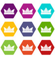 diamond crown icons set 9 vector image vector image