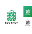 eco shop logo consisting shopping bag and leaf vector image vector image