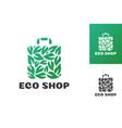 eco shop logo consisting shopping bag and leaf