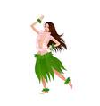 Ethnic dance of hawaiian girl vector image vector image
